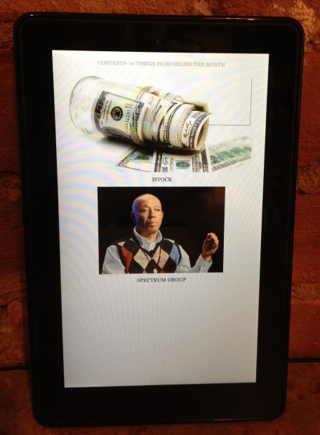 Random images on Kindle Fire Magazines.