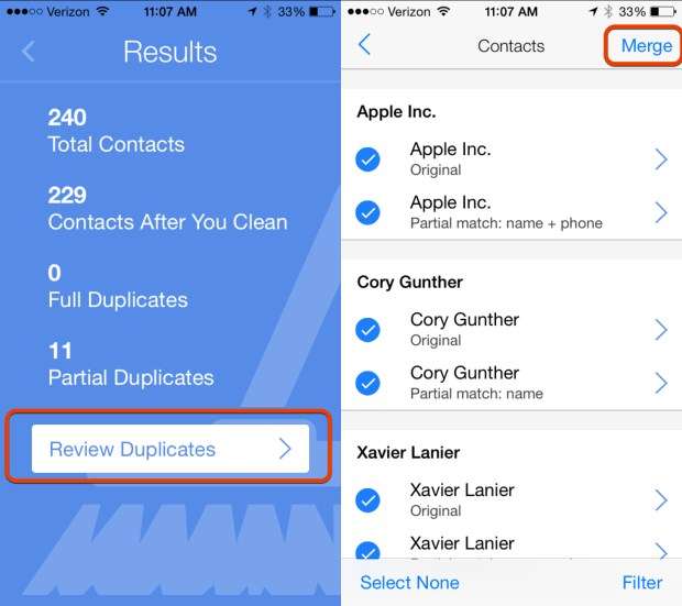 Choose the duplicate contacts to fix.