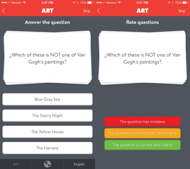 Rate new questions to learn Trivia Crack answers.
