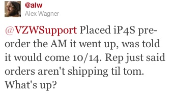 Verizon iPhone 4S preorder not shipping