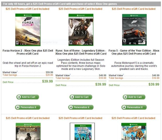 Dell Xbox One games sale.