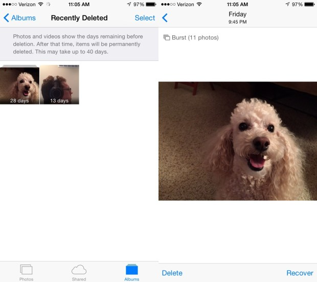 Recover deleted iPhone photos in iOS 8.