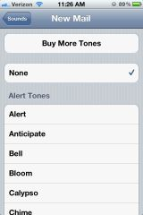 iPhone 4S Settings - Email Notifications