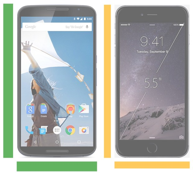 See the iPhone 6 Plus vs Nexus 6 size comparison for a look at this big phones.