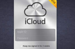 The login screen for iCloud