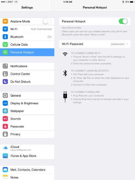 personal hotspot on ipad air