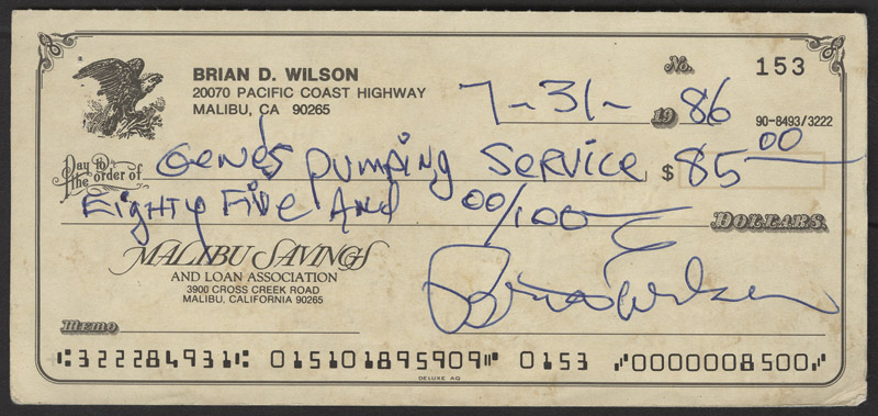 Lot Detail - Brian Wilson Signed  Filled Out Personal Check