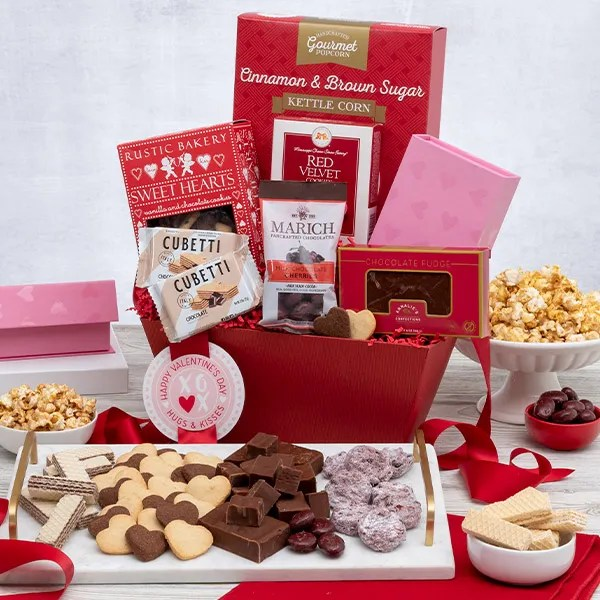Teddy Bear  Chocolates Valentine\u0027s Day Gift Basket by