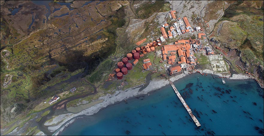 Arial view of Husvik Whaling Station.