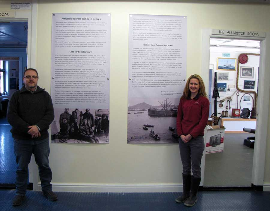 Dag Børresen and SG Museum Curator Deirdre Mitchell with the new exhibition on African whalers.