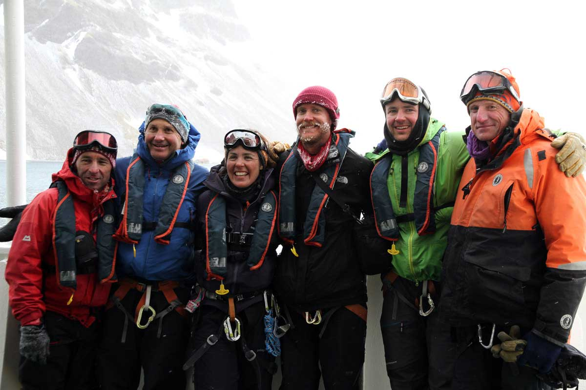 The NZAHT Expedition group. Left to right, Kevin Nicholas, Nigel Watson, Sinéad Hunt, James Blake, Tom MacTavish, and Sean Brooks. Photo Carol Benfield.