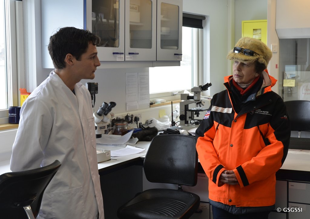 BAS scientists talk to HRH The Princess Royal about how their research contributes to sustainable fisheries.
