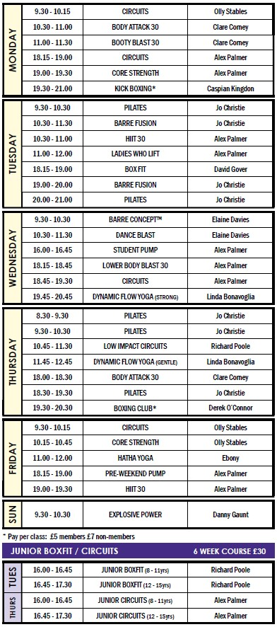 Classes » Gym Services » Home - class timetable