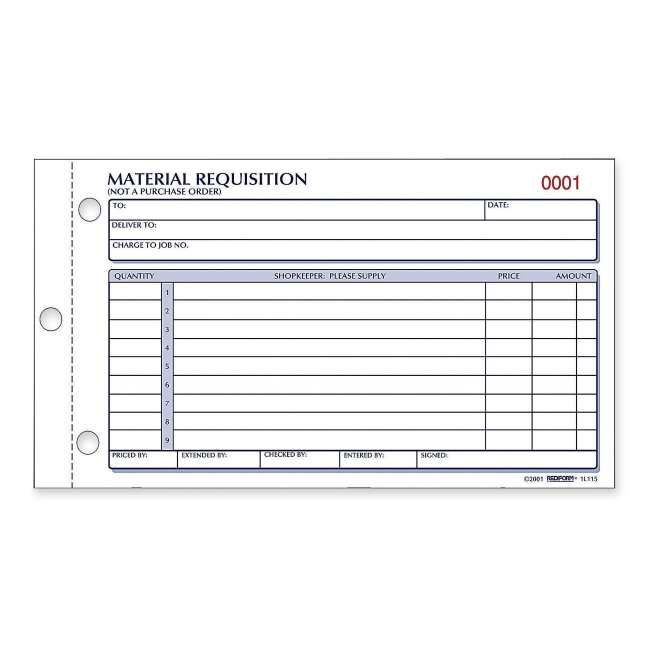 Rediform Material Requisition Purchasing Form 1L114 RED1L114 - requisition form in pdf