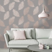 Holden Decor Fawning Feather Grey/Rose Gold Metallic
