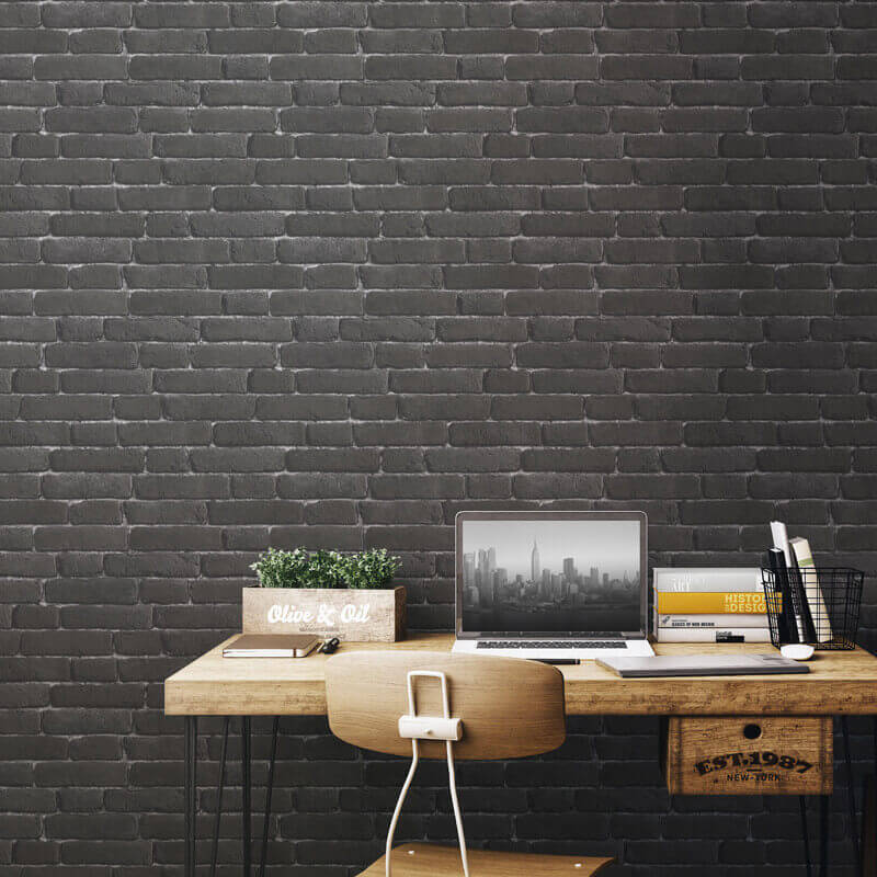 Muriva Brick 3d Effect Wallpaper In White J30309 Muriva Brick 3d Effect Charcoal Wallpaper J30109