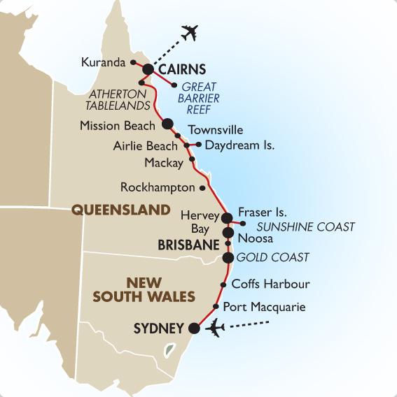 map of australia east coast sydney to cairns