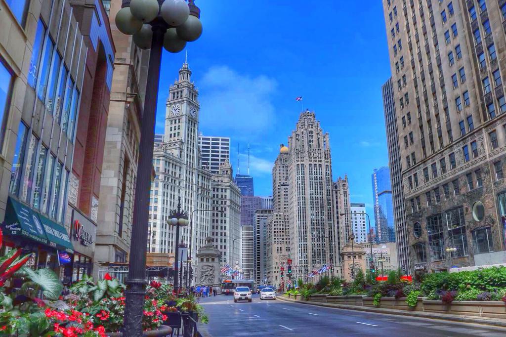 Hd Goggles Wallpaper The Magnificent Mile Area Walk Chicago Illinois