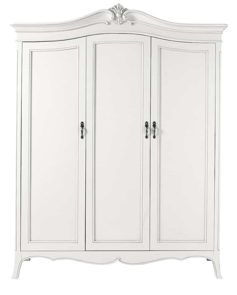 White Wood Wardrobe Armoire Shabby Chic Bedroom