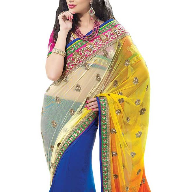 Blue and Yellow Colored Net Pallu With Heavy Embroidery and