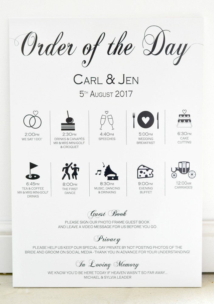Wedding timeline, order of day sign - wedding timeline