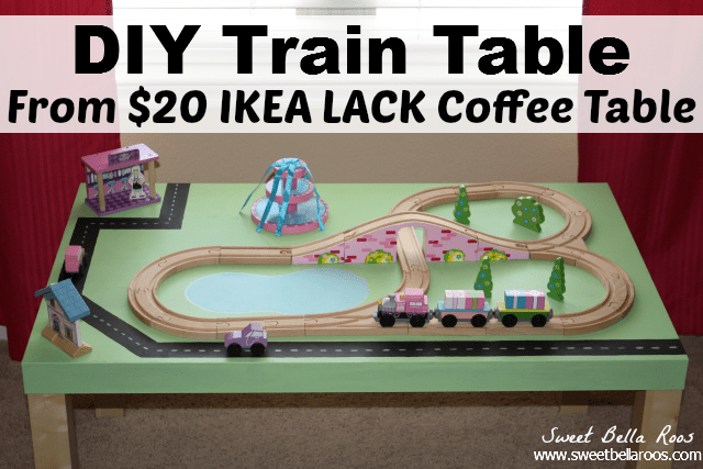 DIY Train Table from $20 IKEA Lack Coffee Table #diy #ikeahack