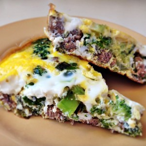 Paleo Ground Beef, Kale and Broccoli Frittata