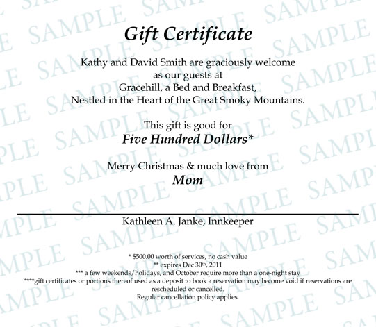 Gift Certificates - Gracehill Bed and Breakfast Gracehill Bed and