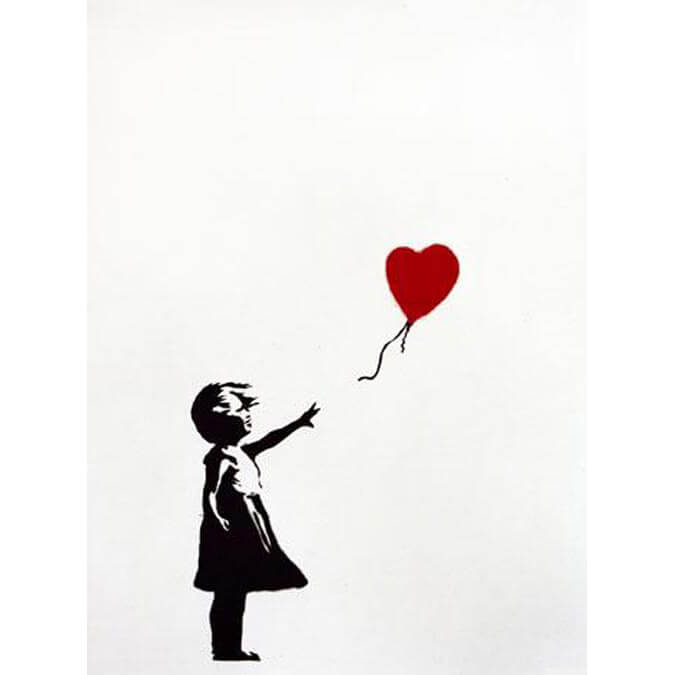 Red And Black Graffiti Wallpaper Banksy Girl With Balloon Signed Print Graffitistreet
