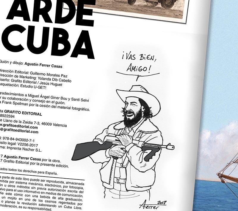 dedicatoria ARDE CUBA comic agustin ferrer