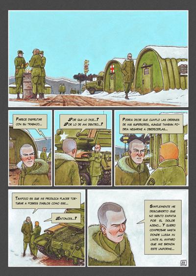 Pagina del cómic CAZADOR DE SONRISAS de Agustín Ferrer Casas. El Doctor Dunne durante la Guerra de Corea