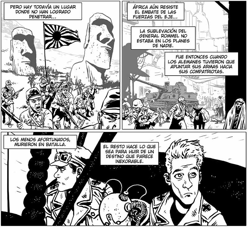 desierto de metal es un cómic lleno de arena, paradojas temporales, robots, soldados alemanes, sabios y automatas