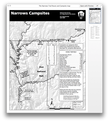 The Narrows Trail Route and Campsite map PDF