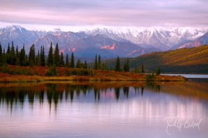 Sunset against Denali National Park at Wonder Lake