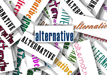 Graphic of the word alternative