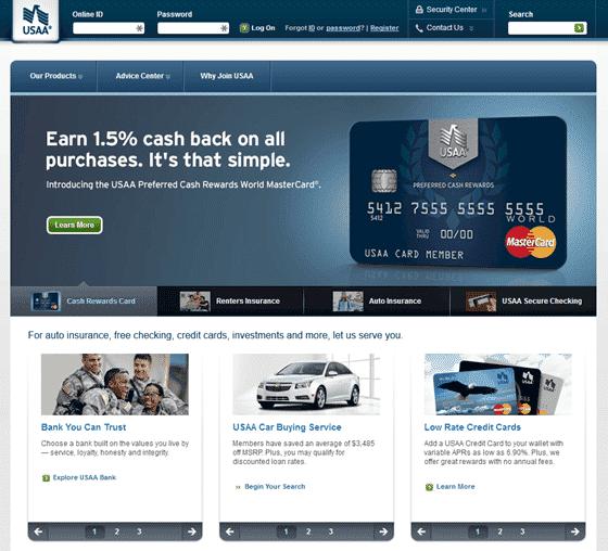 Screenshot of USAA.com