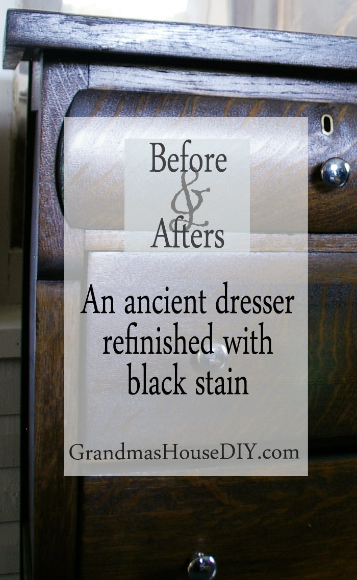 An ancient dresser stripped refinished refinish wood working sand sanding sanded diy do it yourself with black stain and a lot of elbow grease