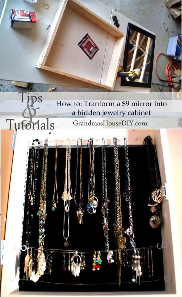 Country Mouse City Spouse Monday Mish Mash Link Party #35 Feature: How To: Transform a $9 Mirror Into A Hidden Jewelry Cabinet @ Grandma's House DIY