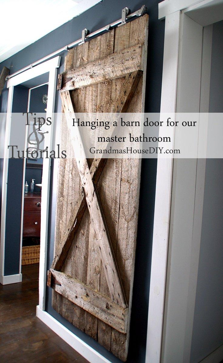 We finally got our hanging barn door up grandmas house diy for Hanging barn door in house