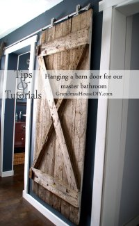 I finally got my hanging barn door up! How to install with ...