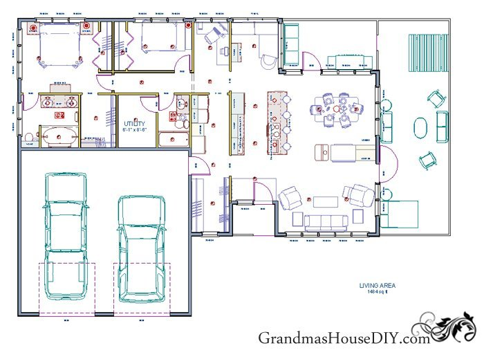 Free house plan of a one story easy going ranch for Free two story house plans