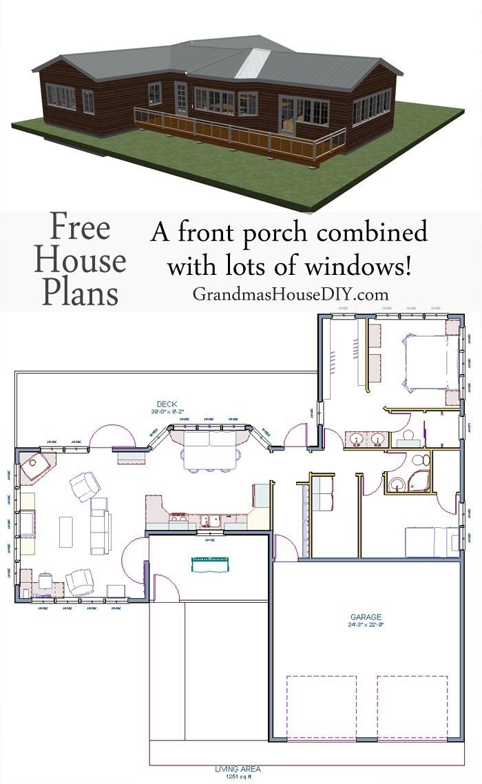 Free house plan one story with a screened in front porch for Portico plans free