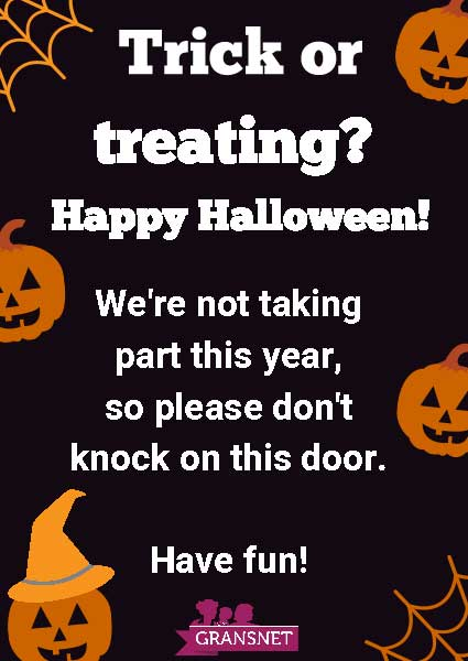 No trick or treat poster - Halloween safety advice