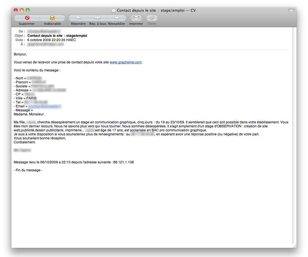 ecrire un mail pour envoyer un cv