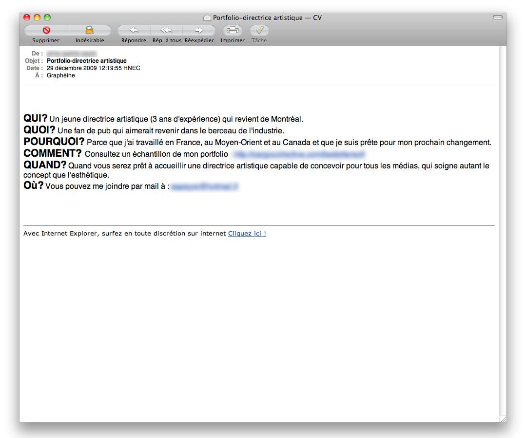 que mettre en objet pour un cv dans le mail