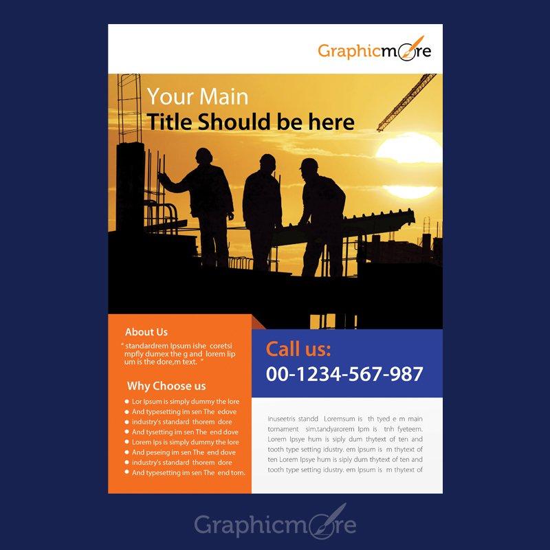 Construction Company Flyer Design Free PSD File