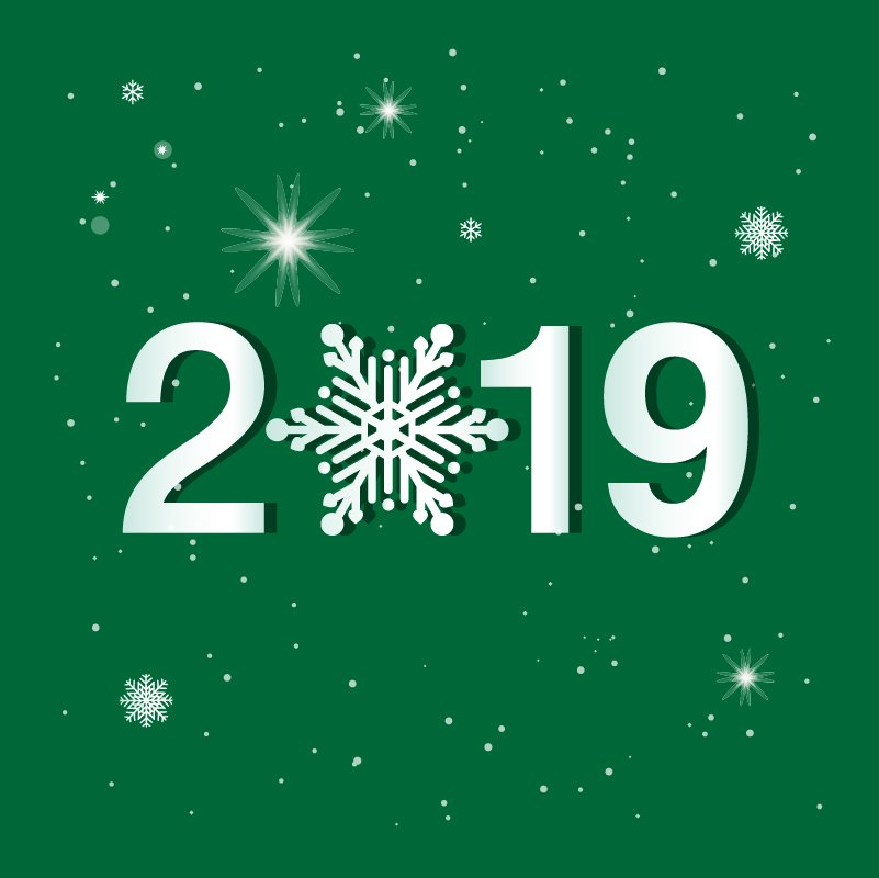 Green Christmas Style New Year 2019 Greeting Card Design Free Vector