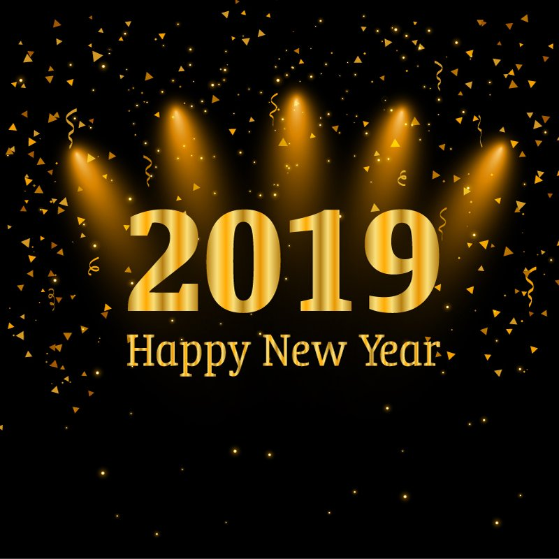 Happy New Year 2019 Card with Party Celebration Background