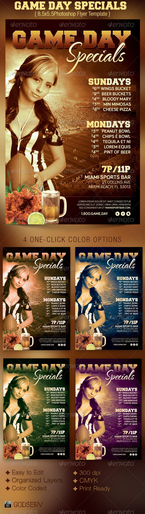game day specials flyer template