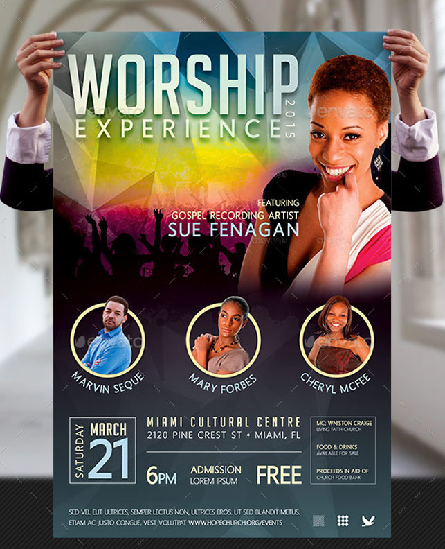 worship concert poster templates graphicmule. Black Bedroom Furniture Sets. Home Design Ideas